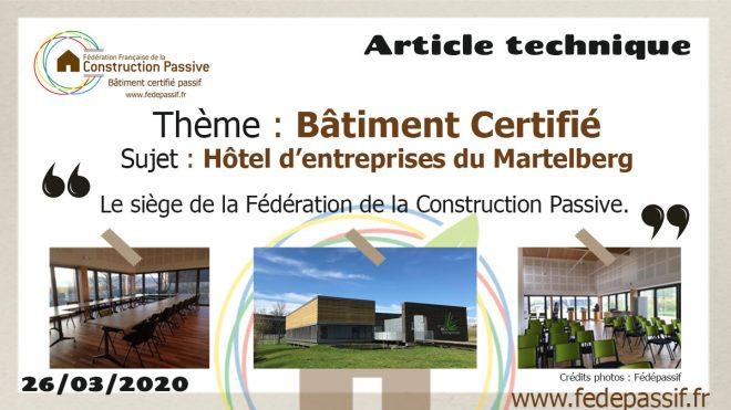 Article Technique - Bâtiment Certifié - Espace Eco Entreprenant / Certificat Fédépassif 2015-25