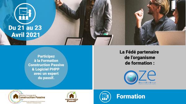 Formation Construction Passive + Logiciel PHPP - du 21 au 23 Avril 2021